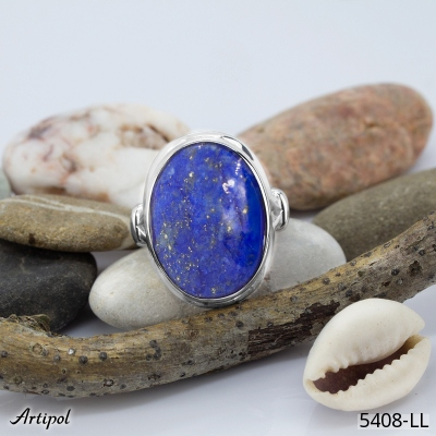 Ring with real Labradorite - European product French style - Jewellery in rhodium silver - Ref 54-04