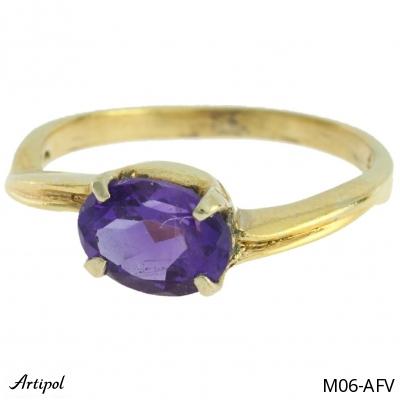Ring Garnet silver gilded