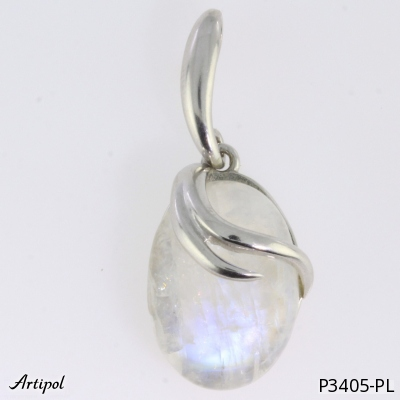 Pendant with real Tiger Eye - European product French style - Jewellery in rhodium silver - Ref P-30-06