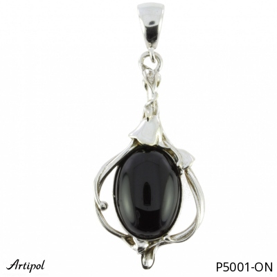 Pendant with real Labradorite - European product French style - Jewellery in rhodium silver - Ref P-34-07