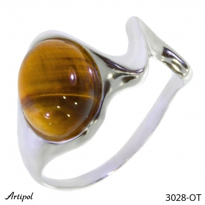 Ring with real Tiger Eye - European product French style - Jewellery in rhodium silver - Ref 38-03
