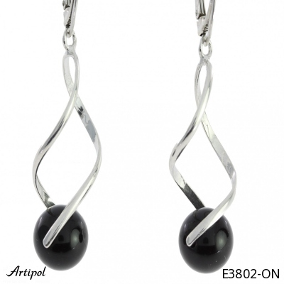 Earrings with real Amber - European product French style - Jewellery in rhodium silver - Ref E-50-01