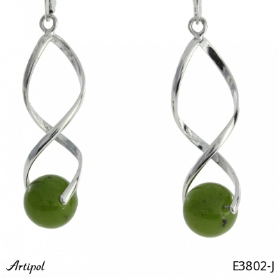 Earrings with real Black onyx - European product French style - Jewellery in rhodium silver - Ref E-50-01