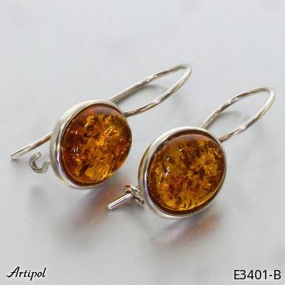 Boucles d'oreilles en Ambre E 58-05 - Bijoux en argent rhodié et Ambre en cabochon