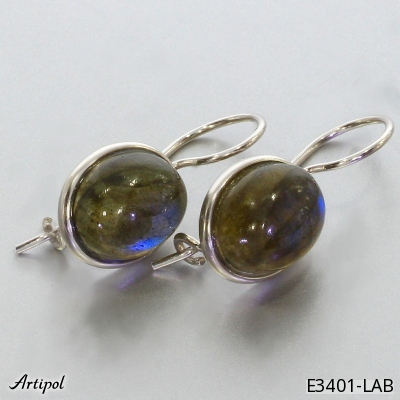 Earrings with real Amethyst - European product French style - Jewellery in rhodium silver - Ref E-58-06
