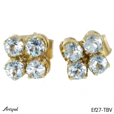 Earrings Garnet silver gilded Ef 39