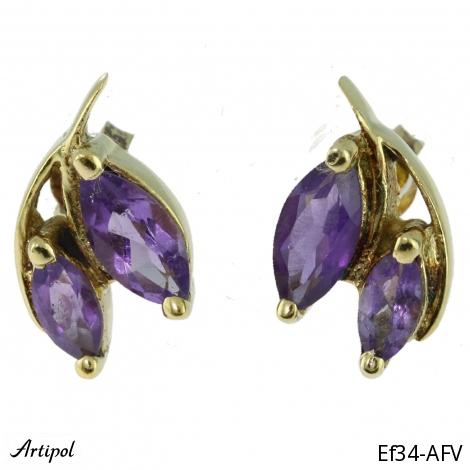 Earrings Garnet silver gilded Ef-30
