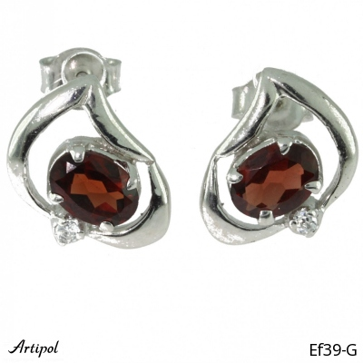 Earrings Garnet silver gilded