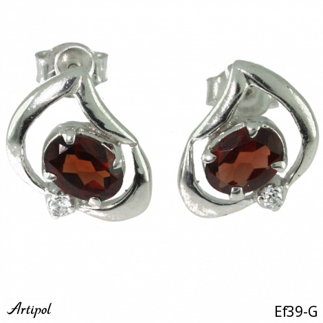 Earrings Garnet silver gilded Ef 32