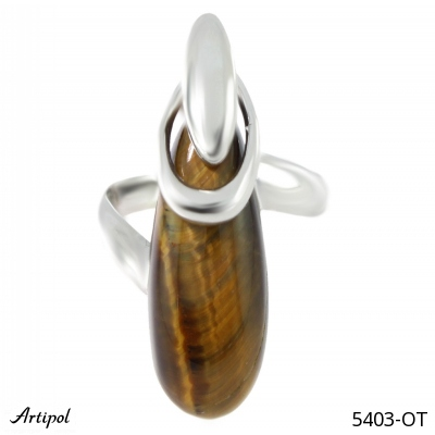 Bracelet with real Tiger Eye - European product French style - Jewellery in rhodium silver - Ref B-78-01