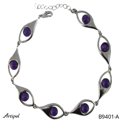 Bracelet with real Tiger Eye - European product French style - Jewellery in rhodium silver - Ref B-94-02